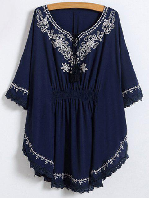 2019 Lace Trim Embroidered Cotton Peasant Blouse In Purplish Blue