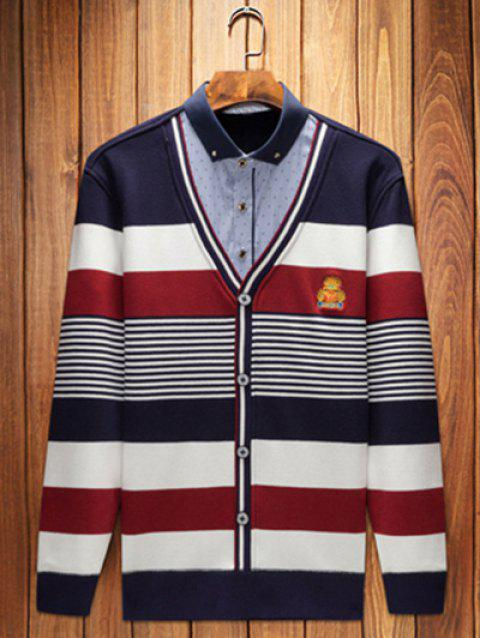 Embroidery Striped Shirt Collar Pullover Faux Twinset Top - STRIPE L