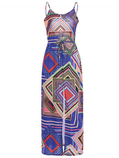 Bohemian Spaghetti Strap géométrique Maxi Dress - multicolore L