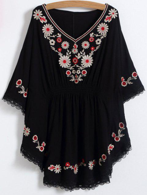 8f77aee053687f 2019 V Neck Floral Mexican Embroidered Dolman Blouse In BLACK ONE ...