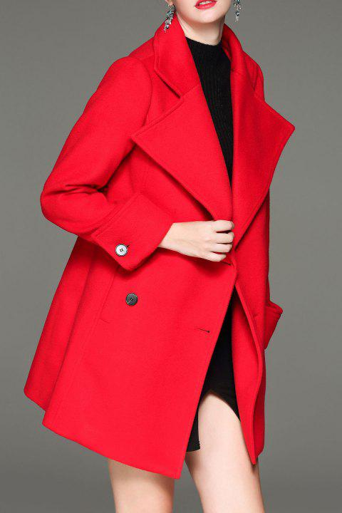 Turn Down Collar Coat Double Breasted - Rouge S