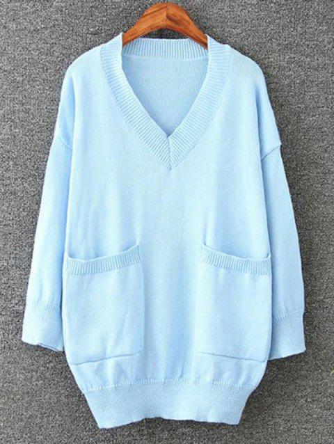 Long Pullover Plus Size V Neck Sweater with Pockets - AZURE 2XL
