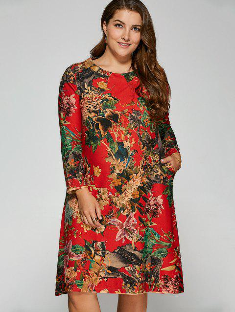 Robe Grande Taille Florale Au Genou - Rouge ONE SIZE