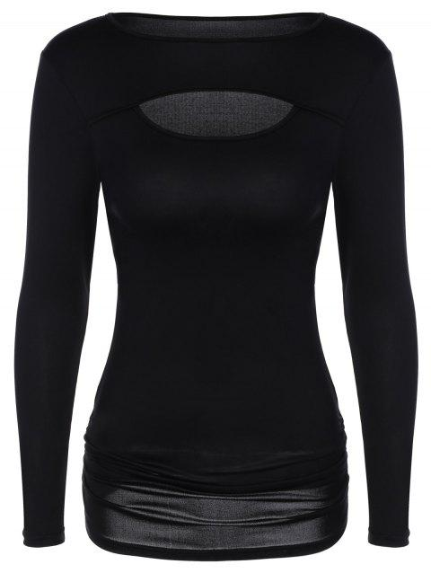 Front Hole Long Sleeve Ruched T-Shirt - BLACK M