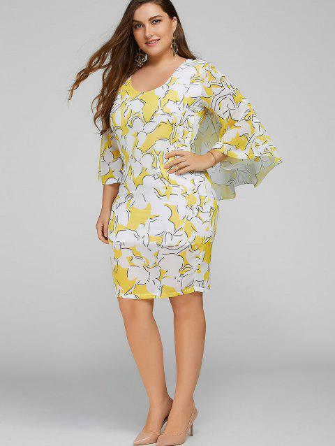 Plus Size Batwing Sleeve Printed Bodycon Dress - YELLOW 3XL
