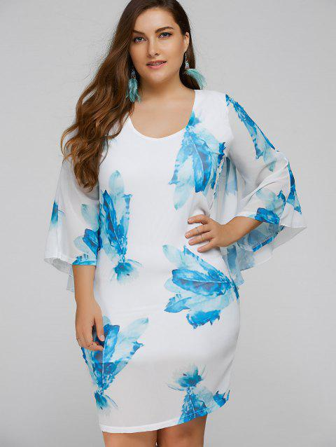 Limited Offer 2018 Plus Size Batwing Sleeve Leaves Print Bodycon