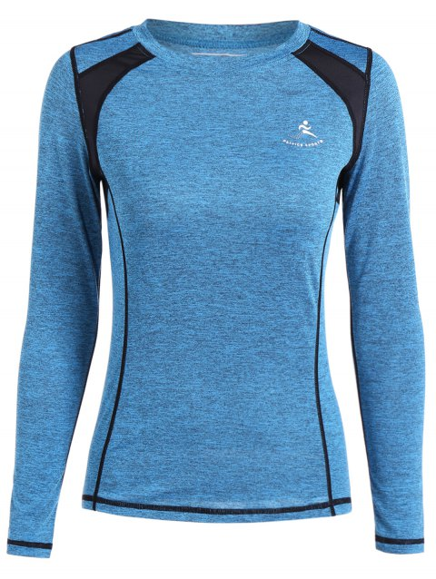Color Block Heather Running T-Shirt - AZURE M