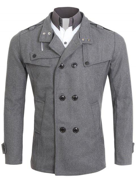 Tournez-Down Neck Pocket Double Breasted Peacoat - Gris XL