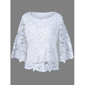Bell Sleeve Sheer Lace Blouse