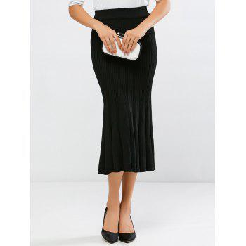 High Waisted Mermaid Knit Midi Skirt