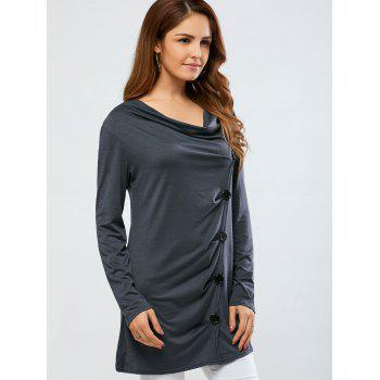 Cowl Neck One Breasted T-Shirt - GRAY GRAY