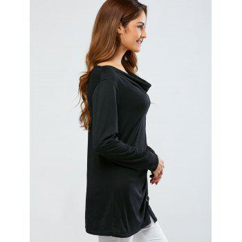 Cowl Neck One Breasted T-Shirt - BLACK 2XL