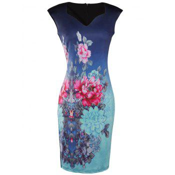 Knee Length Bodycon Floral Print Dress