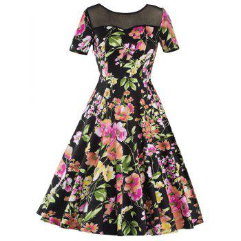 Knee Length Mesh Floral Vintage Dress