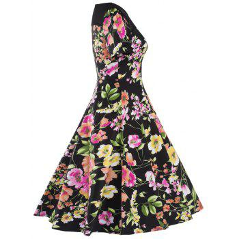 Knee Length Mesh Floral Vintage Dress - BLACK L