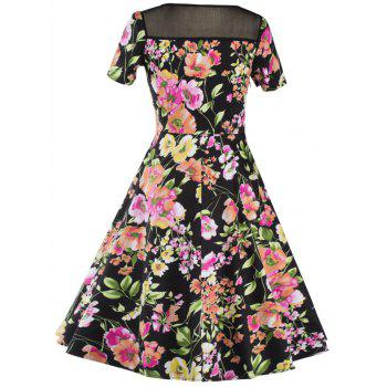 Knee Length Mesh Floral Vintage Dress - BLACK BLACK