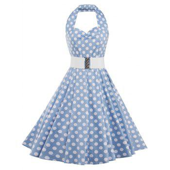 Polka Dot Halter Vintage Dress - AZURE AZURE