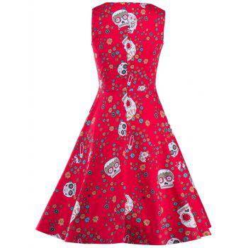 Vintage Print Fit and Flare Dress - RED 2XL
