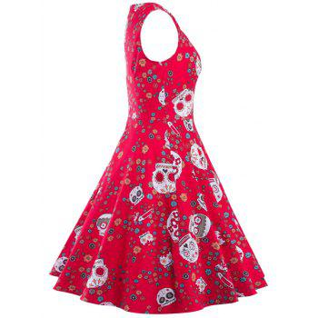 Vintage Print Fit and Flare Dress - RED RED