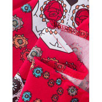 Vintage Print Fit and Flare Dress - RED XL