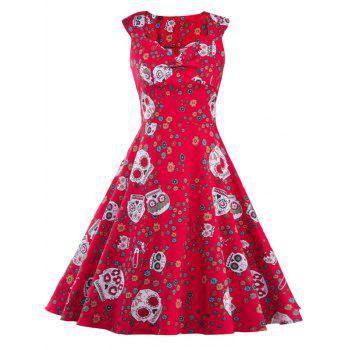 Vintage Print Fit and Flare Dress