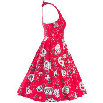 Vintage Print Cut Out Fit and Flare Dress - RED RED