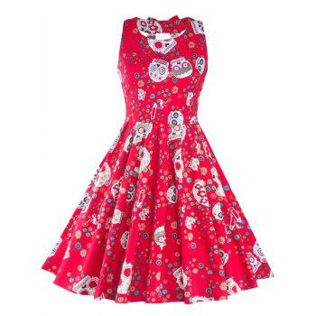 Vintage Print Cut Out Fit and Flare Dress