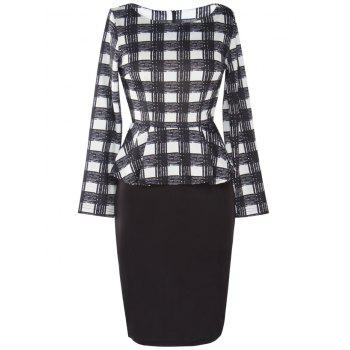 Knee Length Plaid Peplum Dress