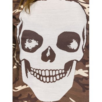 Long Sleeve  Skull Camo Halloween T-Shirt - L L