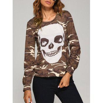 Long Sleeve  Skull Camo Halloween T-Shirt - LIGHT COFFEE L