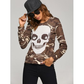 Long Sleeve  Skull Camo Halloween T-Shirt - M M
