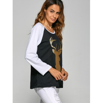 Christmas Deer Raglan Sleeve Tee - BLACK L