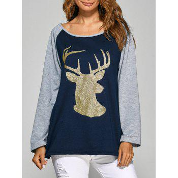 Christmas Deer Raglan Sleeve Tee - CADETBLUE CADETBLUE