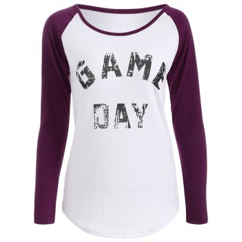 Game Day Print Baseball T Shirt - PURPLE PURPLE