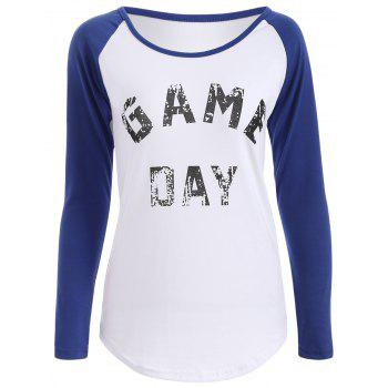 Game Day Print Baseball T Shirt - BLUE BLUE