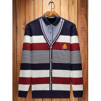Embroidery Striped Shirt Collar Pullover Faux Twinset Top