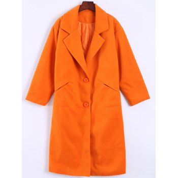 Pocket Design Long Lapel Woolen Overcoat