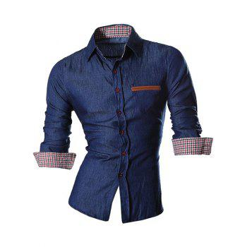 Long Sleeve Faux Pocket Design Chambray Shirt