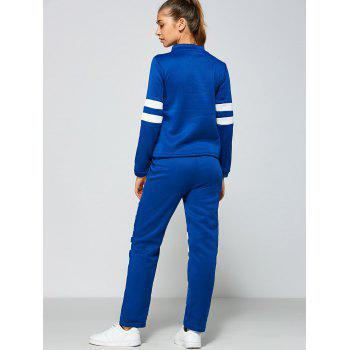 Single Breasted Jacket and Number Print Pants - BLUE/WHITE M