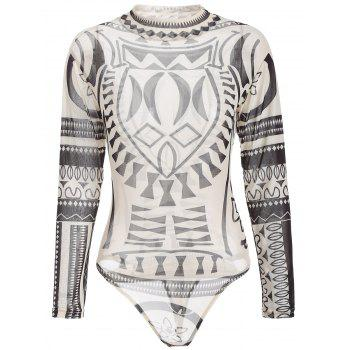 See-Through Print Mesh Long Sleeve Bodysuit