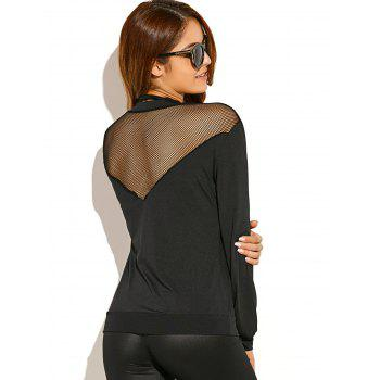 See-Through Sheer Panel Long Sleeve T-Shirt - BLACK M