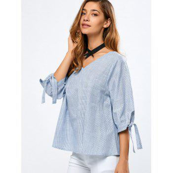 Striped Tied-Up Puff Sleeves Blouse