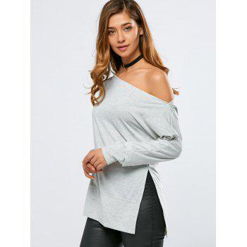 Skew Neck Side Slit T-Shirt - LIGHT GRAY LIGHT GRAY