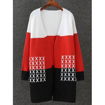 Color Splicing Cross Pattern Knitted Cardigan