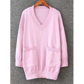 Long Pullover Plus Size V Neck Sweater with Pockets