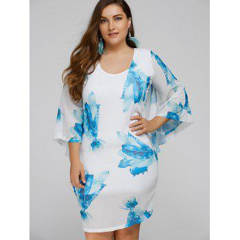 Plus Size Batwing Sleeve Leaves Print Bodycon Dress