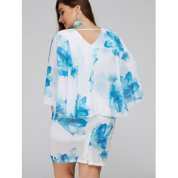 Plus Size Batwing Sleeve Leaves Print Bodycon Dress - BLUE 2XL
