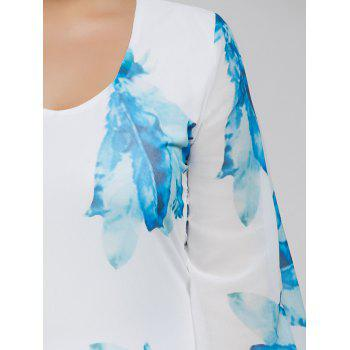 Plus Size Batwing Sleeve Leaves Print Bodycon Dress - BLUE L