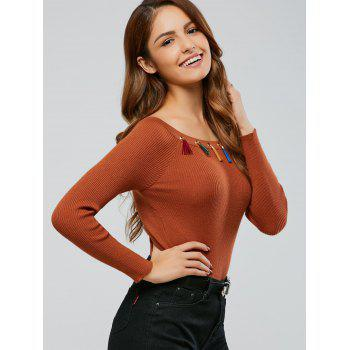 Colorful frangée Bodycon Pull Tricots - Camel ONE SIZE