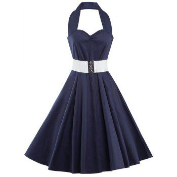 Corset Halter Vintage Swing A Line Party Dress - PURPLISH BLUE S